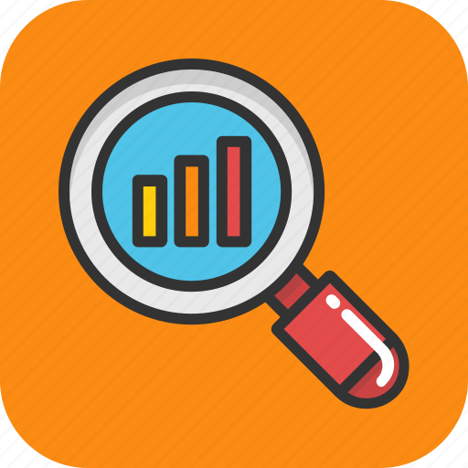 analysis, analytics, finance graph, graph magnifying, statistics icon