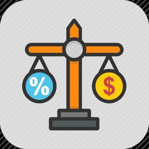 budget equality, business scale, calculation, disbalance, earning balance icon