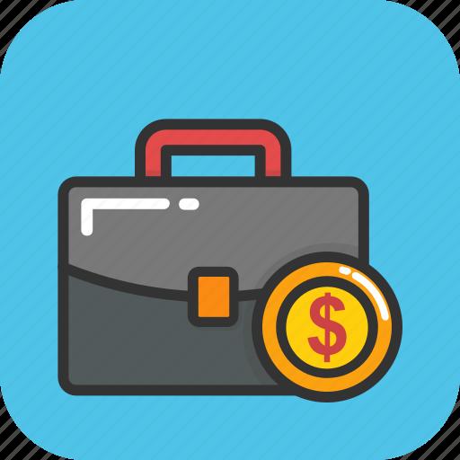 banking concept, briefcase, cash, money case, official psd icon