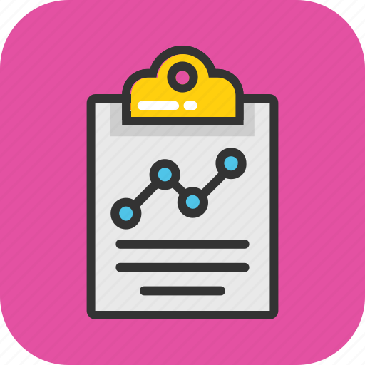business graph, clipboard graph, financial infographic, financial report, graph chart icon