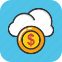 cloud cost, cloud dollar, cloud money, strategic business, thinking money icon