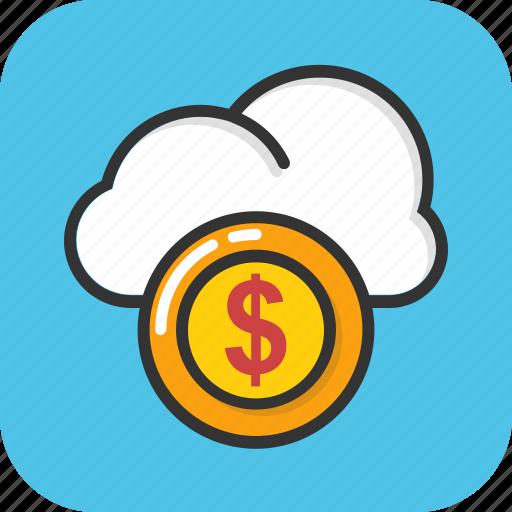 cloud cost, cloud dollar, cloud money, strategic business, thinking money icon