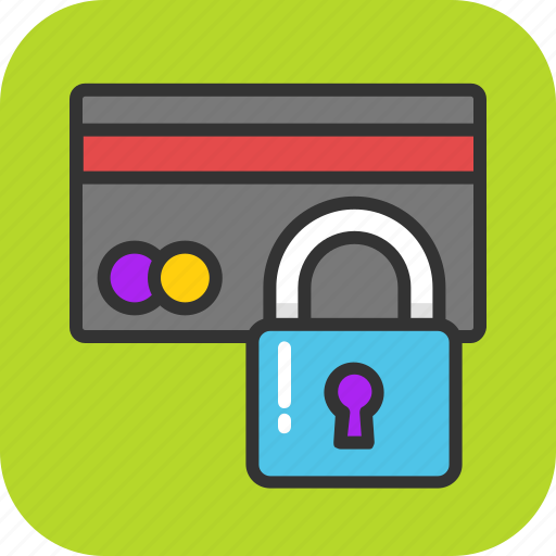 credit card lock, mechanical security, safe credit card, secure payment, security bank icon