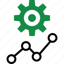 analytics, gear, graph, report icon