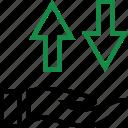 arrow, hand, money icon