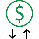 dollar, down, sign icon