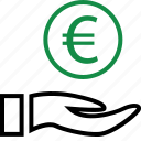 business, coin, hands icon