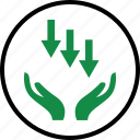 arrow, business, down, hands icon