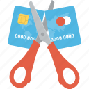 credit card deduction, cut credit card, expired credit card, payment limit, transaction deduction concept icon