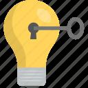 creative solution, innovative idea, key bulb, key of idea, key to success icon