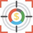 business aim, business focus, financial target, money objective, opportunity search icon