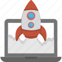 business start, laptop and launch, seo promotion, startup and development, web startup icon