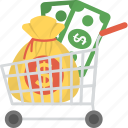 business and finance, capital, financing concept, investment, money in cart icon