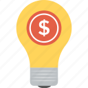 business creativity, business idea, dollar in bulb, dollar light bulb, money making idea icon