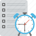 clock with document, task planning, time management, timetable, work deadline icon
