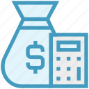 finance, money, dollar sack, dollar, counting, currency sack, calculator icon