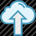 cloud, cloud computing, finance, up arrow, upload, uploading icon