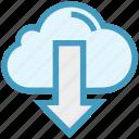 cloud, cloud computing, down arrow, download, downloading, finance