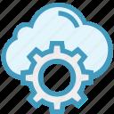 business, cloud, cogwheel, finance, gear, setting, setup icon