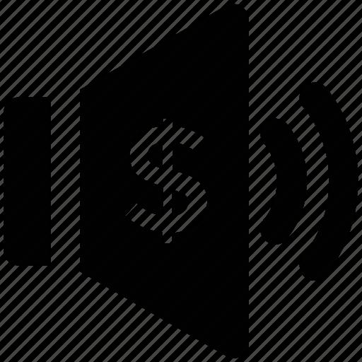 dollar sign, loudspeaker, sound, speaker, voice, volume, volume with dollar icon