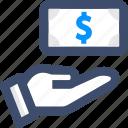 cash, money, payment, receive icon
