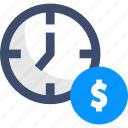 clock, dollar, money, time, timer
