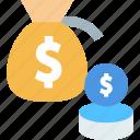 coins, money, money bag, savings