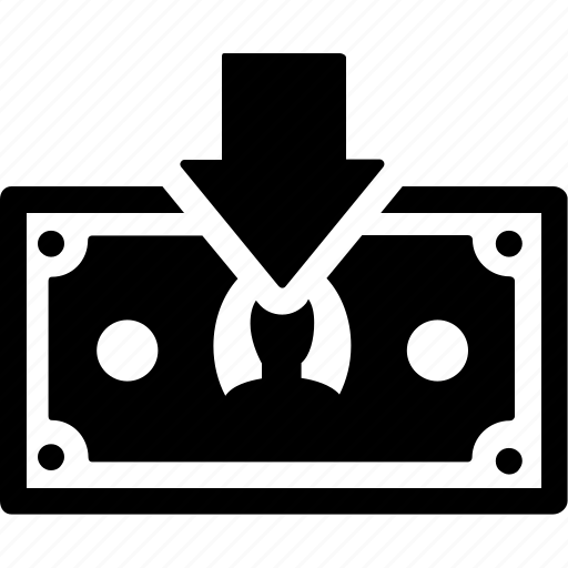 arrow, cash, down, export, finance, payment icon