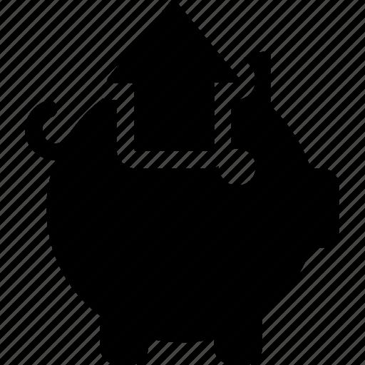 arrow, bank, finance, piggy, remove, savings, up icon