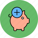 add, bank, finance, new, piggy, savings icon