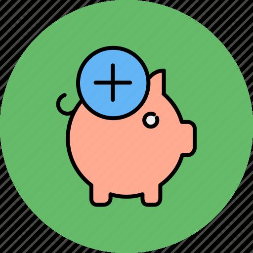add, bank, finance, new, piggy, savings icon