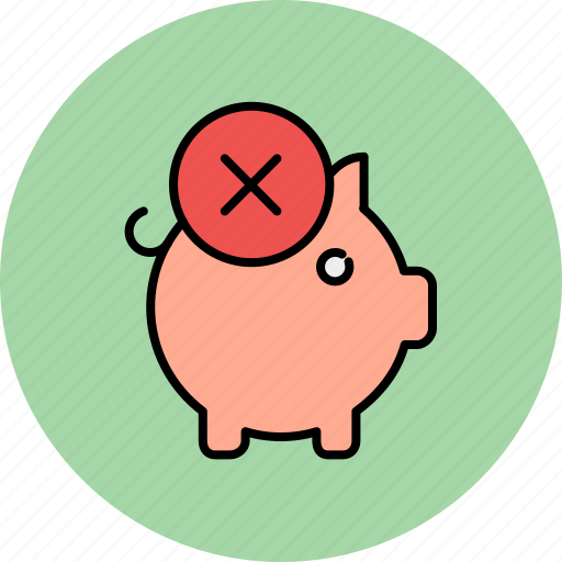 bank, cancel, delete, finance, piggy, savings icon