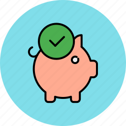 approve, bank, complete, confirm, finance, piggy icon
