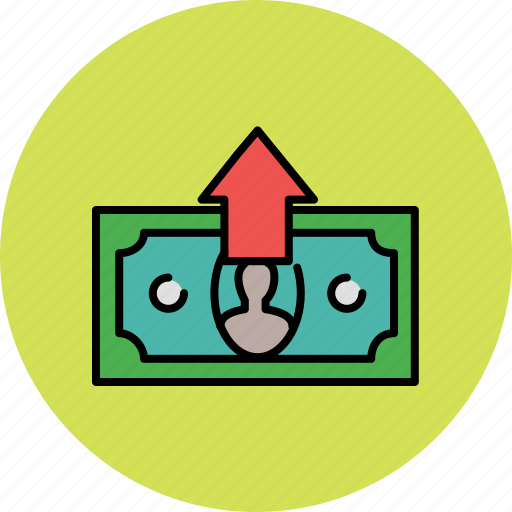 arrow, cash, finance, give, money, payment, up icon
