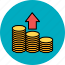 arrow, coin, finance, give, payment, stack, up icon