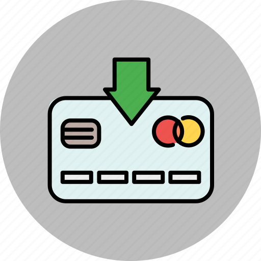 arrow, card, credit, down, finance, insert, payment icon