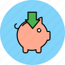 arrow, bank, down, finance, insert, piggy icon