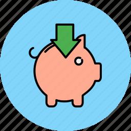 arrow, bank, down, finance, insert, piggy icon
