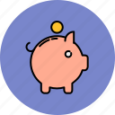 bank, coin, finance, payment, piggy icon