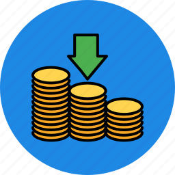 arrow, coin, down, finance, receive, stack icon