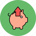 arrow, bank, extract, finance, piggy, remove, up icon