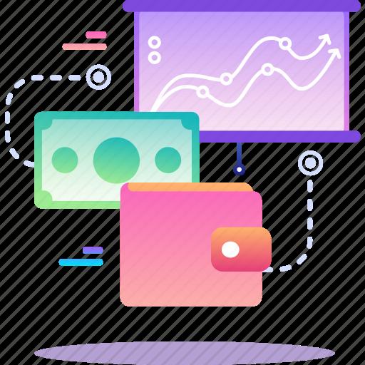 finance, money, statistics, wallet icon