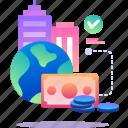 finance, money, office, world icon