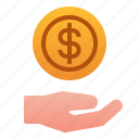 business, finance, gesture, give, hand, loan icon