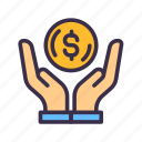 business, charity, dollar, finance, financial, money, payment icon