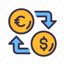business, coin, dollar, euro, exchange, finance, financial, money icon
