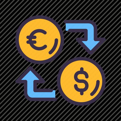 business, coin, dollar, euro, exchange, finance, financial, money icon