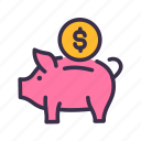 bank, coin, finance, financial, money, piggy, save icon