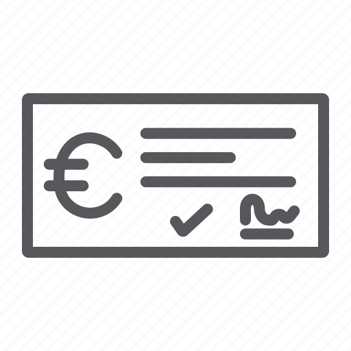 bank, banking, check, cheque, finance, payment, sign icon