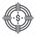 banking, currency, finance, funds, hunting, money, target icon